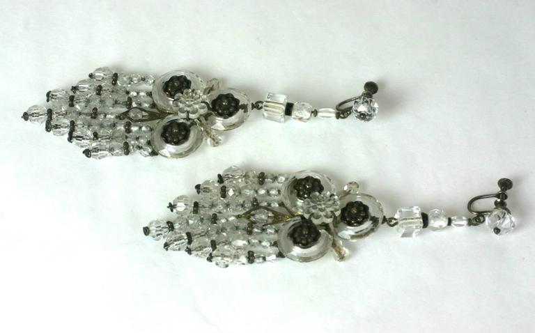 Wonderful Chinese Art Deco Rock Crystal Fringe Earrings For Sale 3