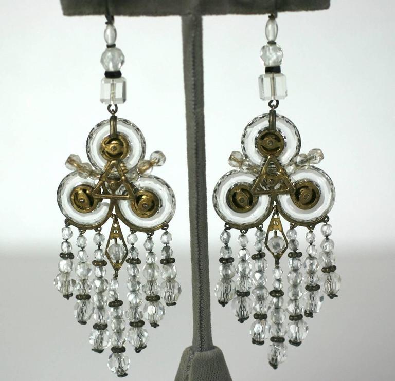 Wonderful Chinese Art Deco Rock Crystal Fringe Earrings For Sale 1