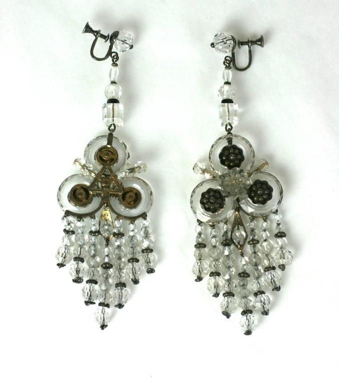 Wonderful Chinese Art Deco Rock Crystal Fringe Earrings For Sale 2