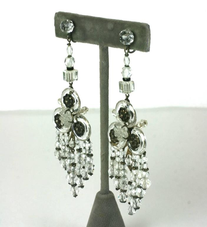 Wonderful Chinese Art Deco Rock Crystal Fringe Earrings In Excellent Condition For Sale In Riverdale, NY