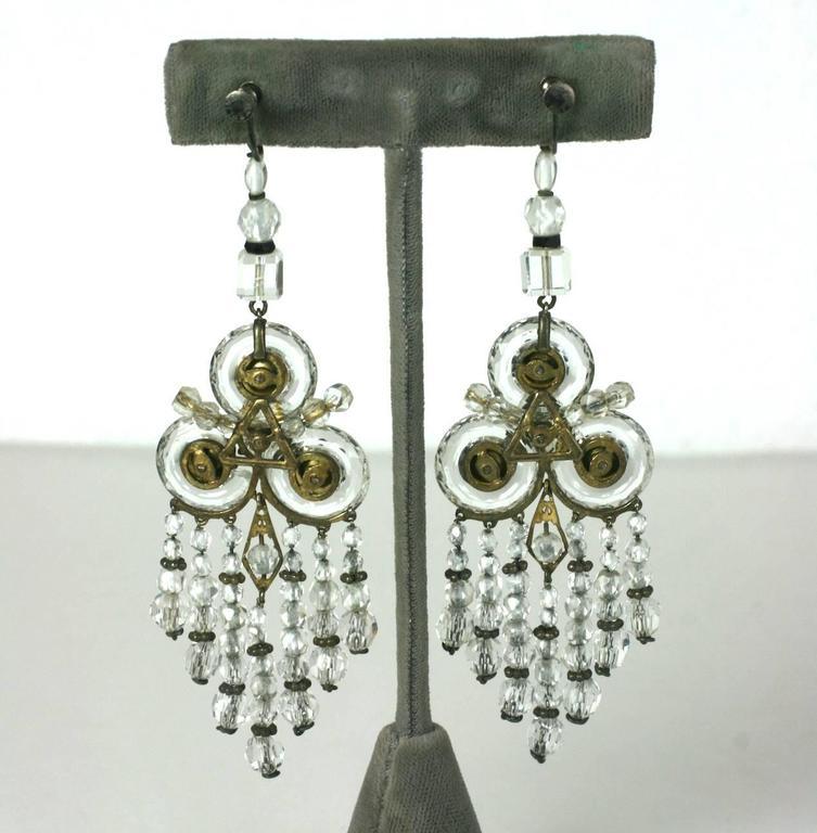 Women's Wonderful Chinese Art Deco Rock Crystal Fringe Earrings For Sale