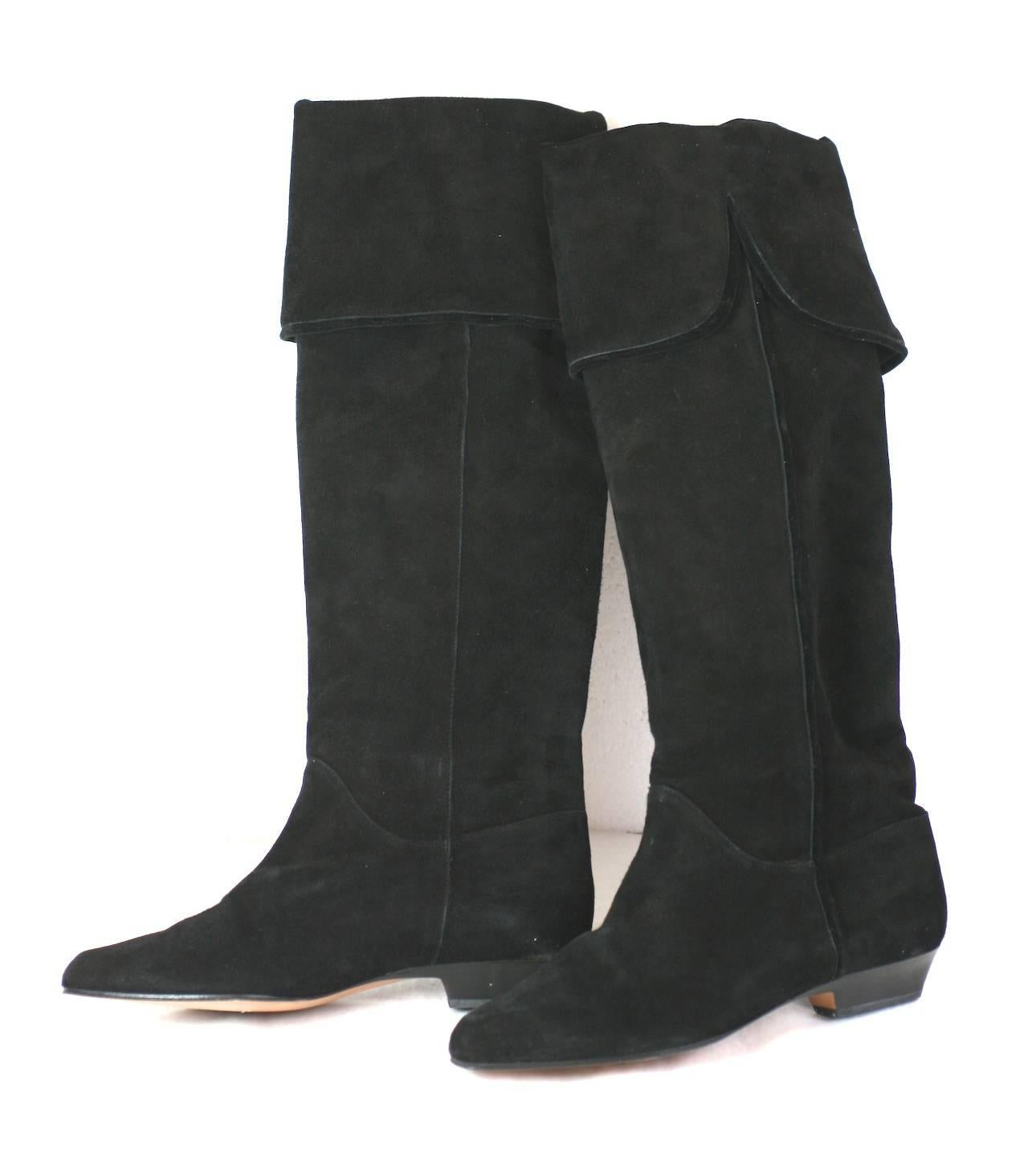 17318aac6cd4 Yves Saint Laurent High Black Suede Boots For Sale at 1stdibs