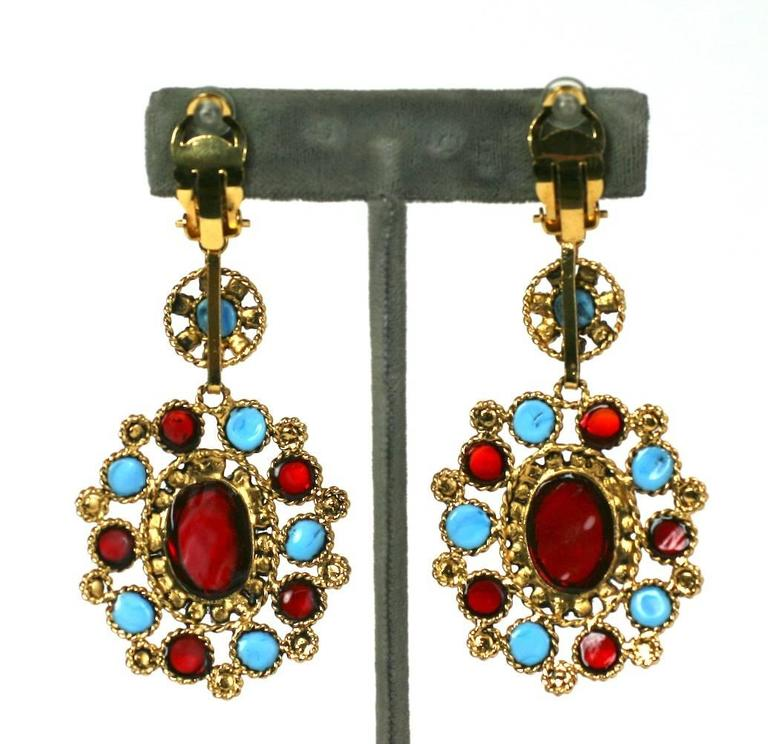 Elegant Maison Gripoix Poured Glass Earrings In Excellent Condition For Sale In Riverdale, NY