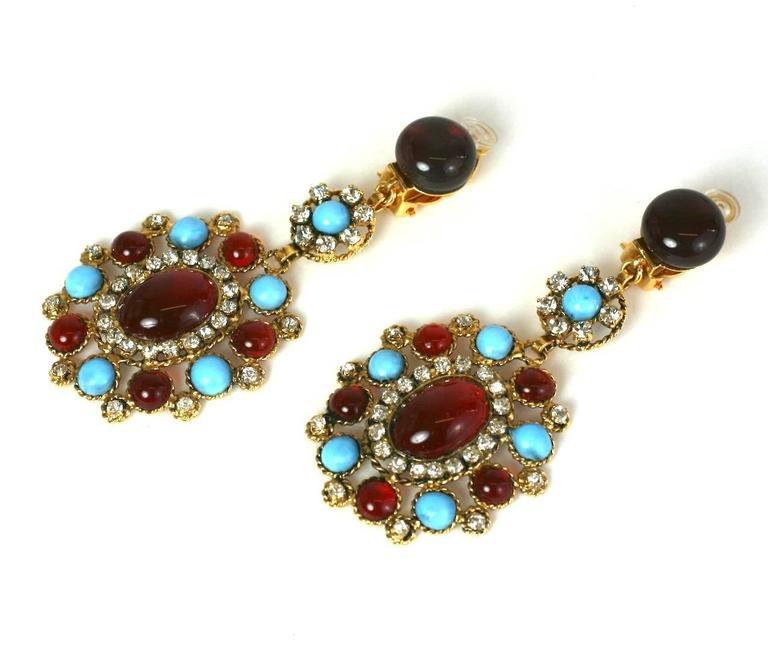 Women's Elegant Maison Gripoix Poured Glass Earrings For Sale