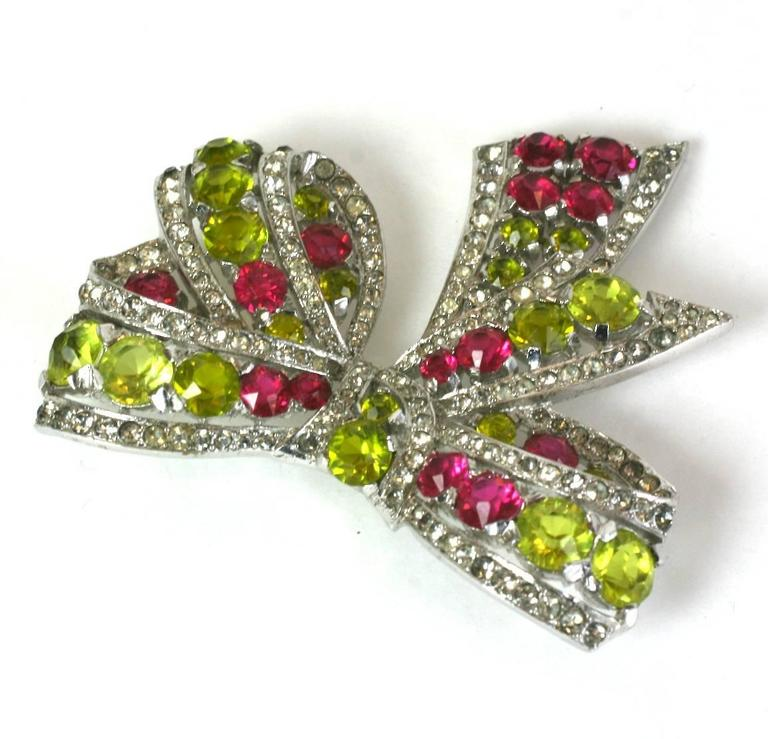 Women's Exceptional Marcel Boucher Art Deco Bow Brooch For Sale