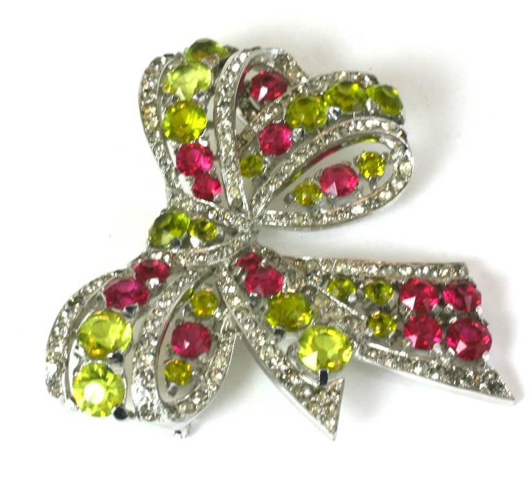 Exceptional Marcel Boucher Art Deco Bow Brooch In Excellent Condition For Sale In Riverdale, NY