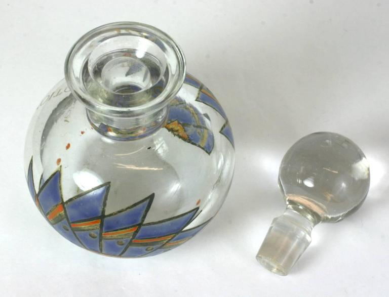 Art Deco Enameled Dresser Bottle In Excellent Condition For Sale In Riverdale, NY