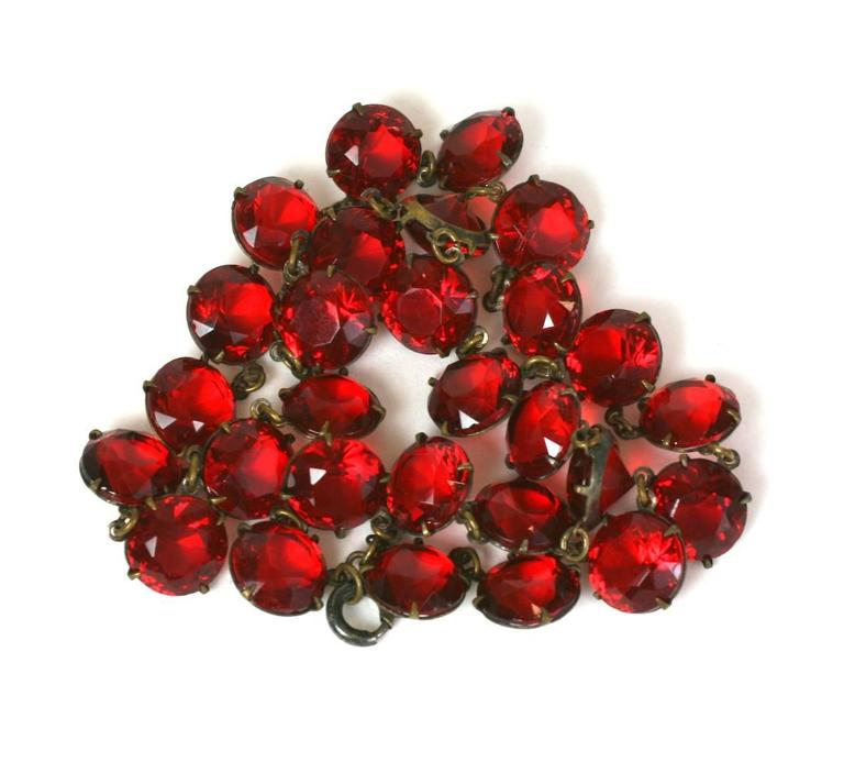 Art Deco Ruby Crystal Riviere In Excellent Condition For Sale In Riverdale, NY