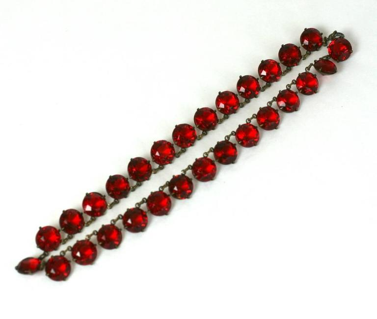 """Art Deco unusual faux ruby round faceted crystal riviere. The deep ruby faceted crystals are set in open back linked settings. Excellent Condition. 1920's France.  L 15.5"""" W .50"""""""