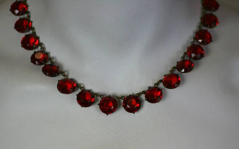 Women's Art Deco Ruby Crystal Riviere For Sale