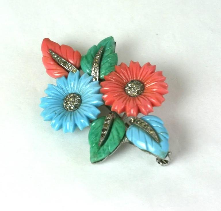 Mazer Pastel Fruit Salad bouquet brooch of rhodium plated metal, crystal rhinestone pave with faux coral, jade and turquoise molded glass flowers and leaves. Unsigned. 1930's USA.  Excellent Condition.