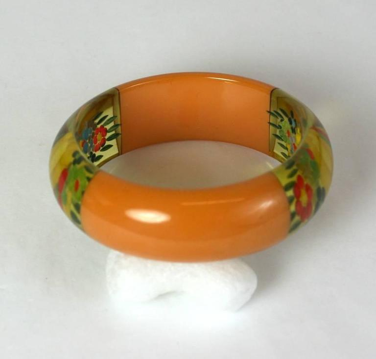 Rare And Unusual Reverse Carved Bakelite Bangle For Sale