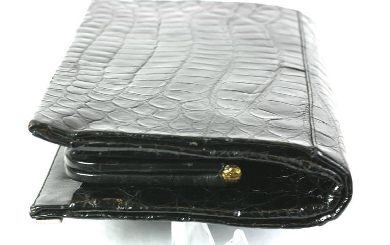 Manon Black Alligator Clutch For Sale 1