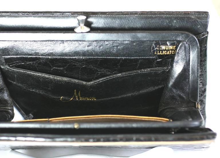 Manon Black Alligator Clutch For Sale 2