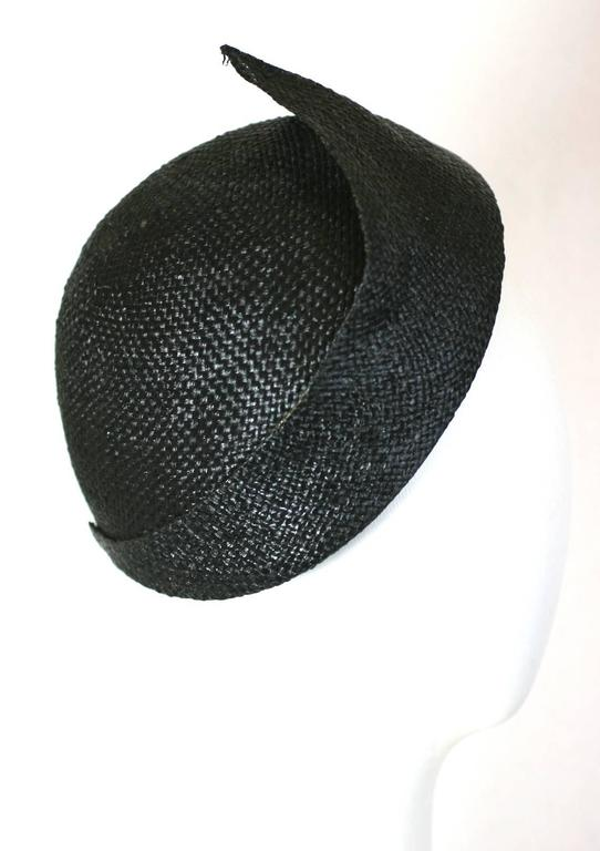 Lanvin by Claude Montana Haute Couture Straw Cloche Hat