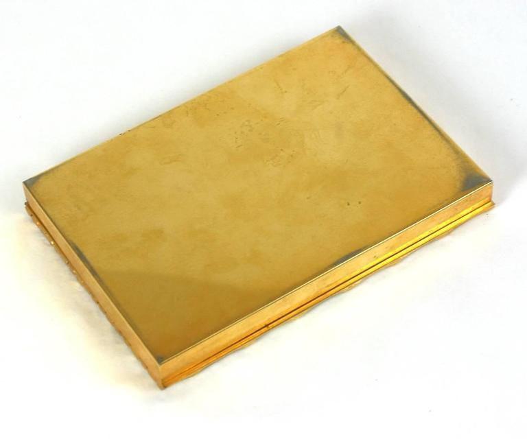 Women's or Men's Italian Gilt Bronze Bamboo Motif Box, Bonwit Teller For Sale