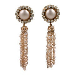 Chanel Large Pearl Tassel Earrings