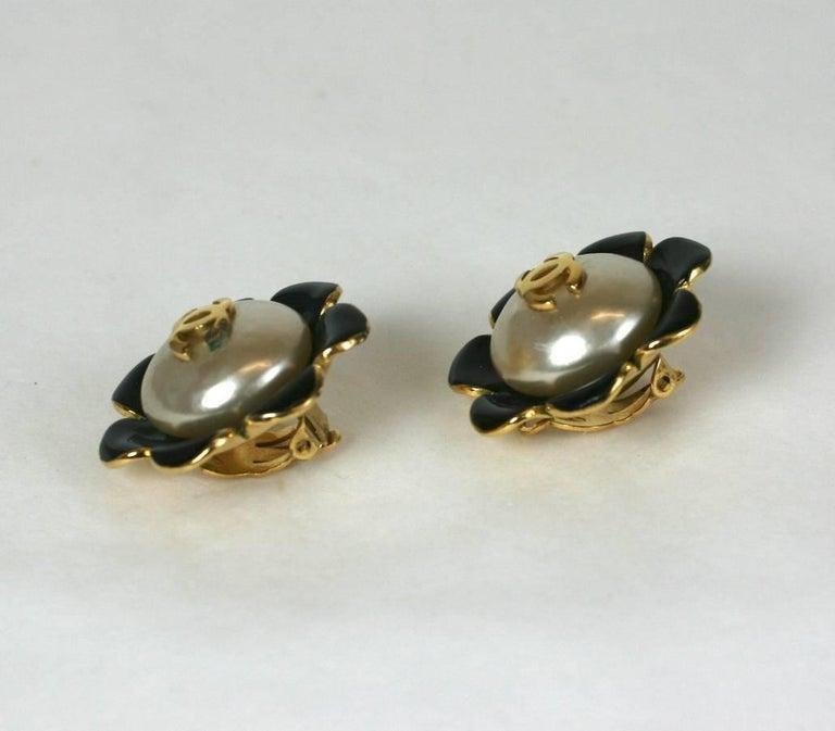 Women's Chanel Enamel Flower Logo Earrings For Sale