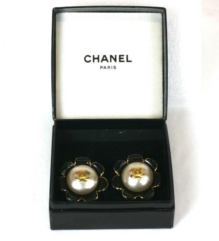 Chanel Enamel Flower Logo Earrings For Sale 2