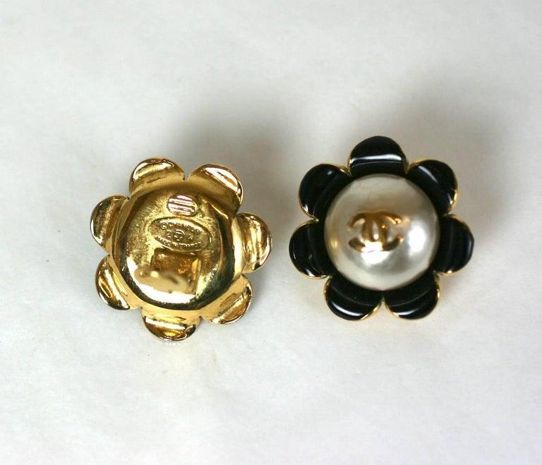Chanel Enamel Flower Logo Earrings For Sale 1