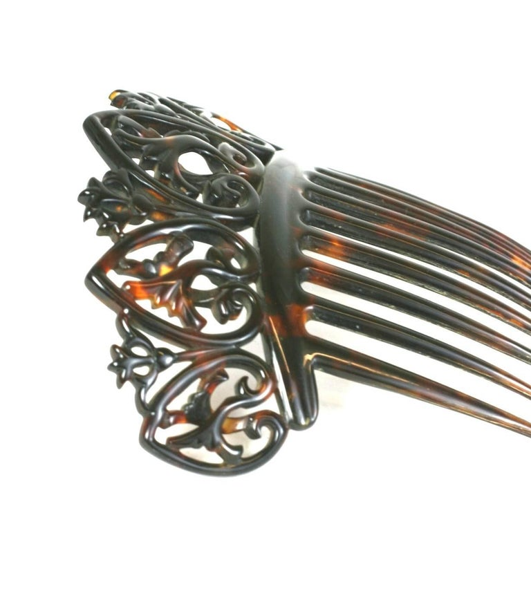 Black Elaborate Victorian Tortoise shell Comb For Sale