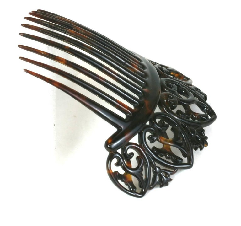 Elaborate Victorian Tortoise shell Comb For Sale 2