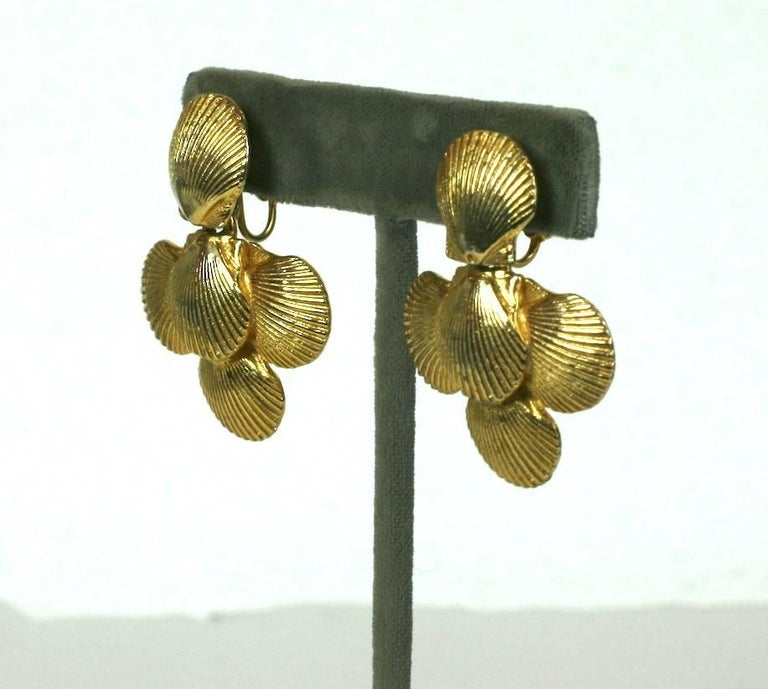 Mimi Di Nardo Shell Earclips with articulated drops. Classic summer motif with gilt metal shells.  1970's USA. Excellent condition.  1 5/8