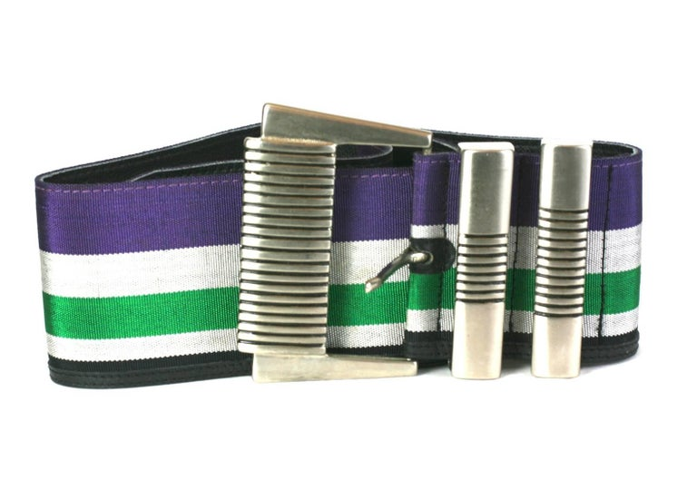 Black Gianni Versace Super Wide Striped Belt For Sale