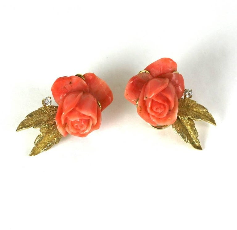 Carved Coral Rose Earclips In Excellent Condition For Sale In Riverdale, NY