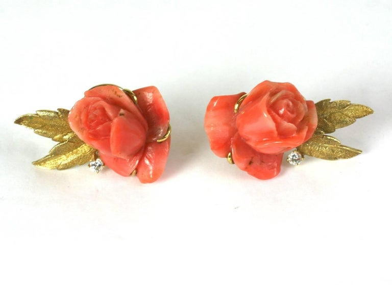 Carved Coral Rose Earclips For Sale 1