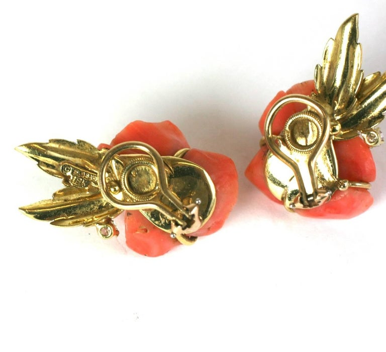 Carved Coral Rose Earclips For Sale 2