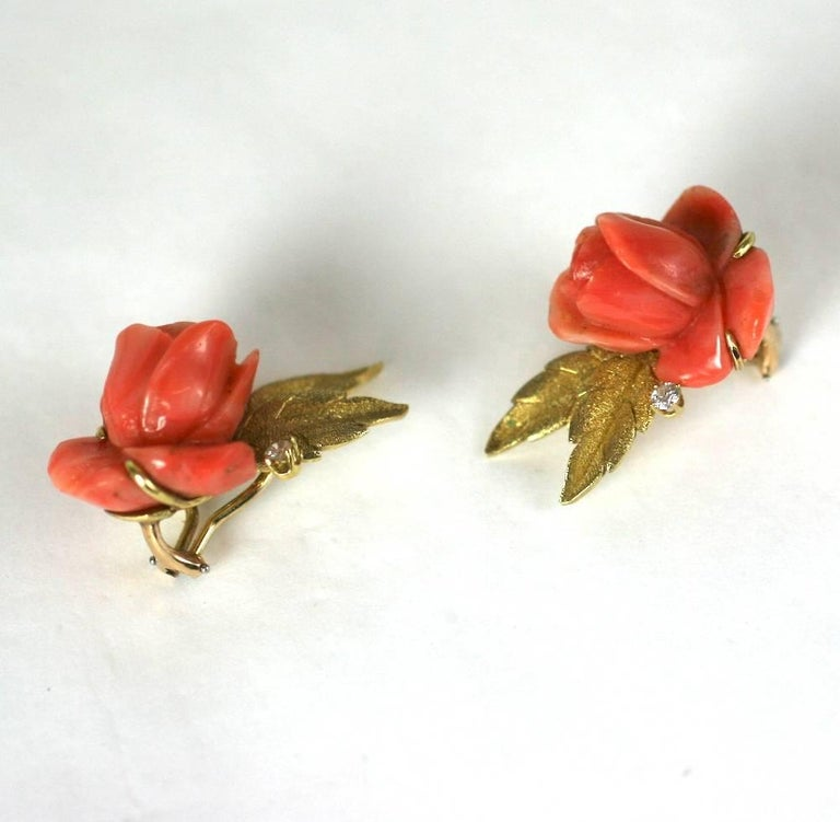 Women's Carved Coral Rose Earclips For Sale