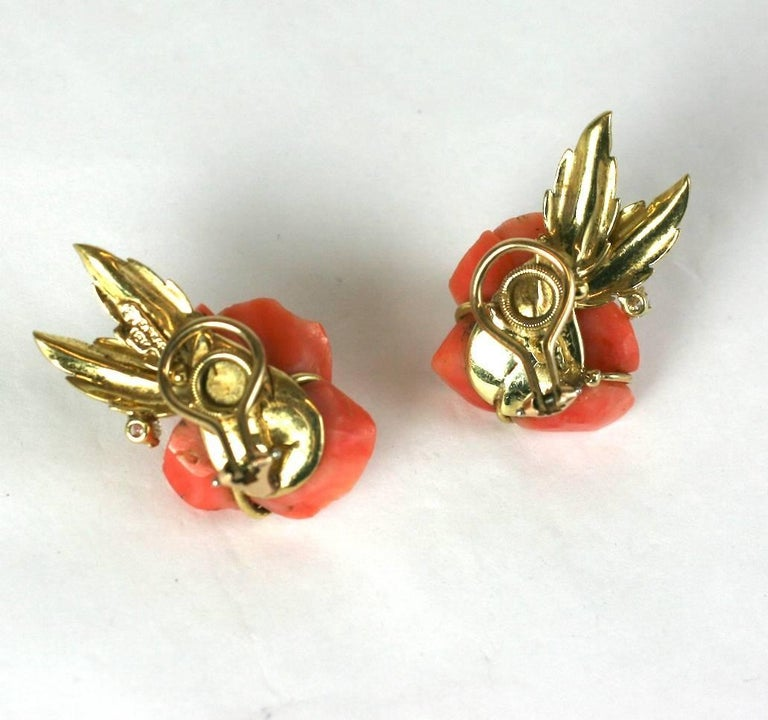 Carved Coral Rose Earclips For Sale 3