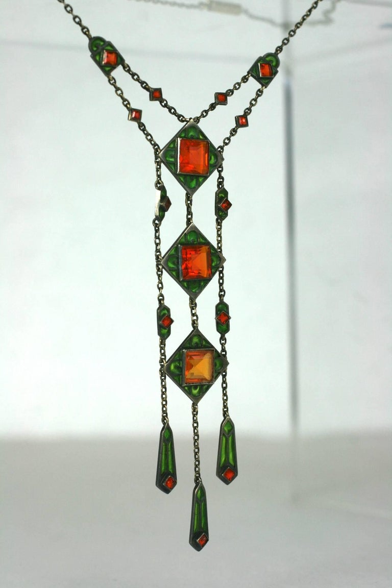 Jugendstil Rare Plique a Jour Pendant, Hemmerle For Sale