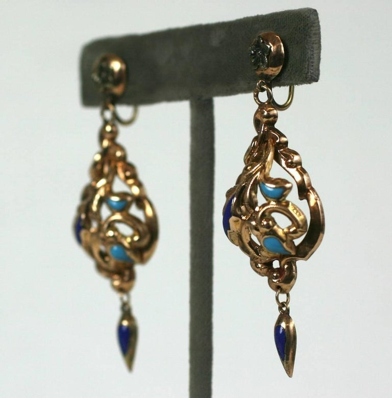 Attractive Victorian Enamel Earrings in 14k gold with deep blue and aqua enamel detailing. Ornate high Victorian styling. 1870's European. Screw back fittings.  2.5