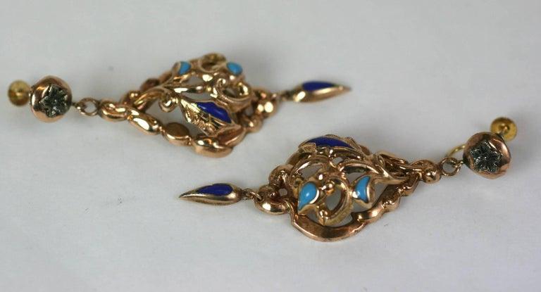 Women's Victorian Enamel Earrings For Sale