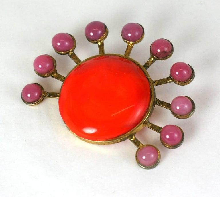 e0eaa972c3a Yves Saint Laurent 1970's Maison Gripoix sun brooch. Of gilt bronze, deep  rose and