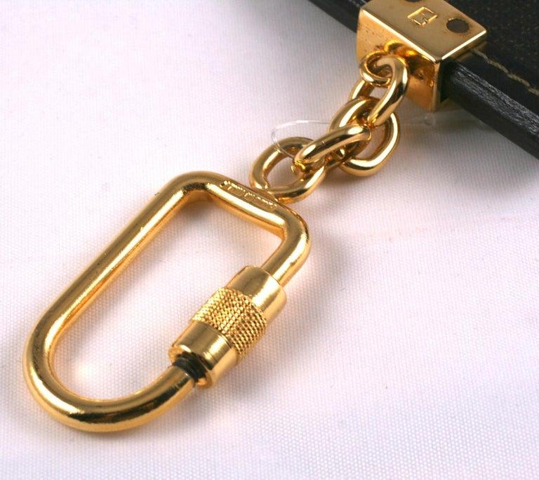 Black Fendi Logo Keychain For Sale