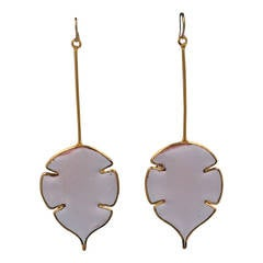 Poured Glass Money Plant Earrings, MWLC