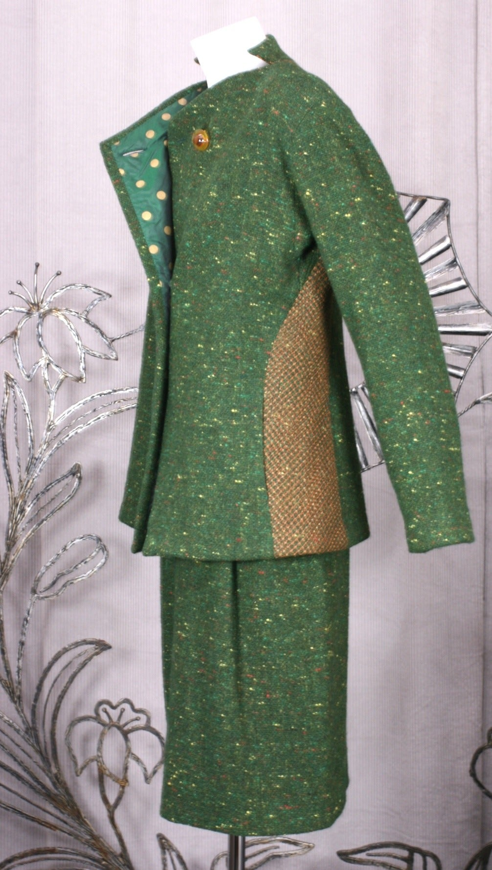 Black Geoffrey Beene Green Tweed Ensemble For Sale
