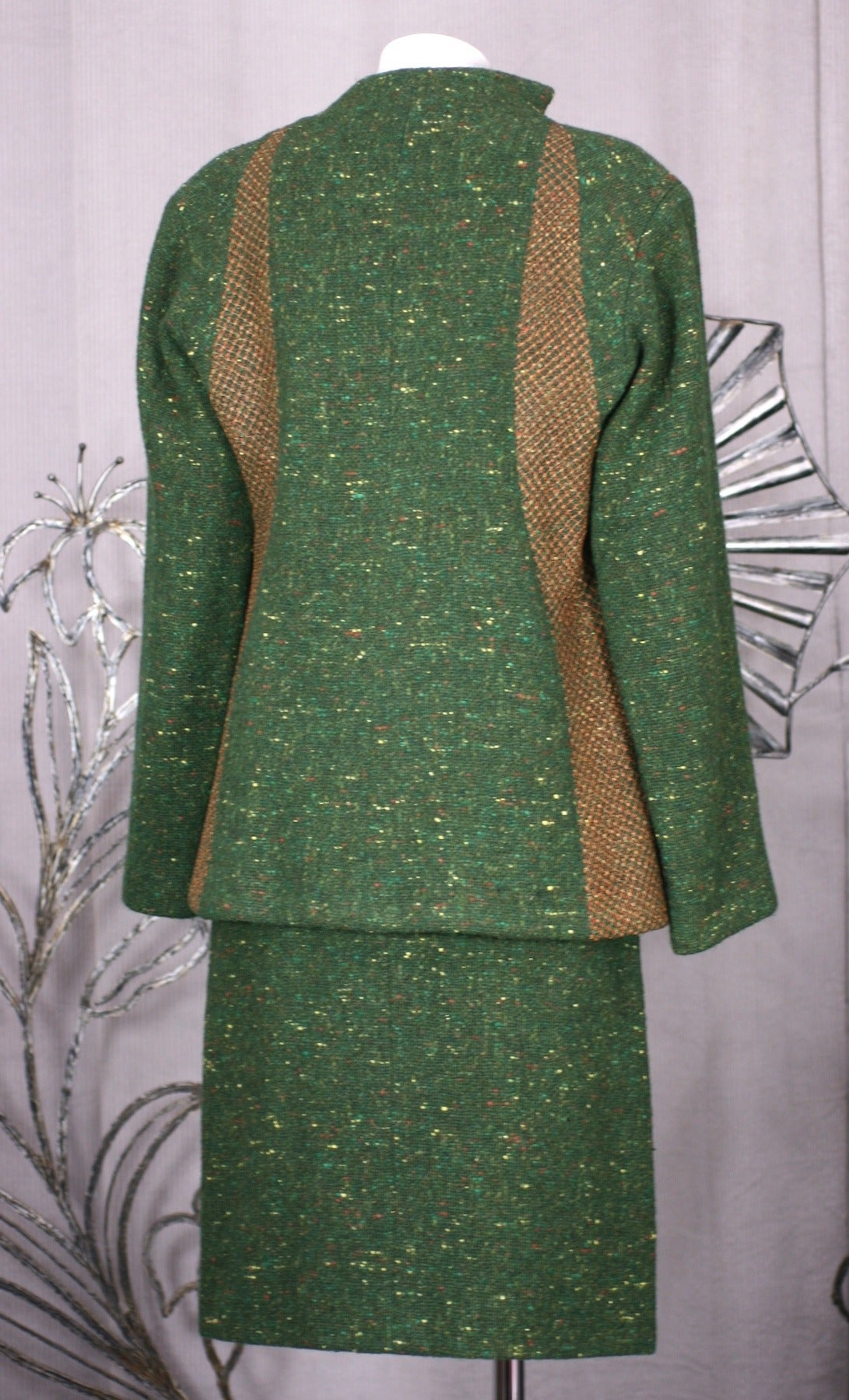 Women's Geoffrey Beene Green Tweed Ensemble For Sale
