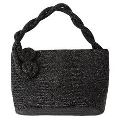 Jet Caviar Beaded Bag with Coil Handles