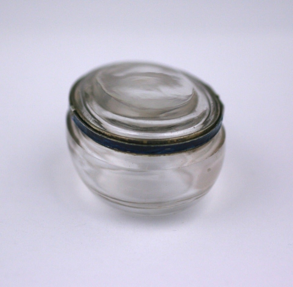 Women's or Men's Edwardian Rock Crystal and Enamel Pill Box For Sale