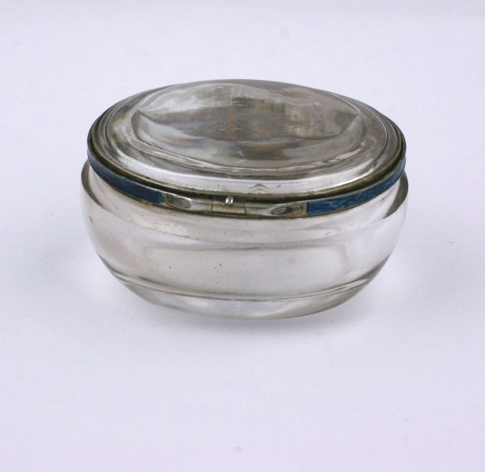 Edwardian Rock Crystal and Enamel Pill Box In Good Condition For Sale In Riverdale, NY