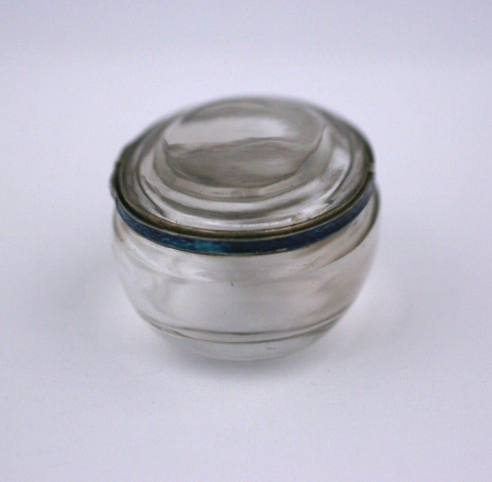 Beige Edwardian Rock Crystal and Enamel Pill Box For Sale