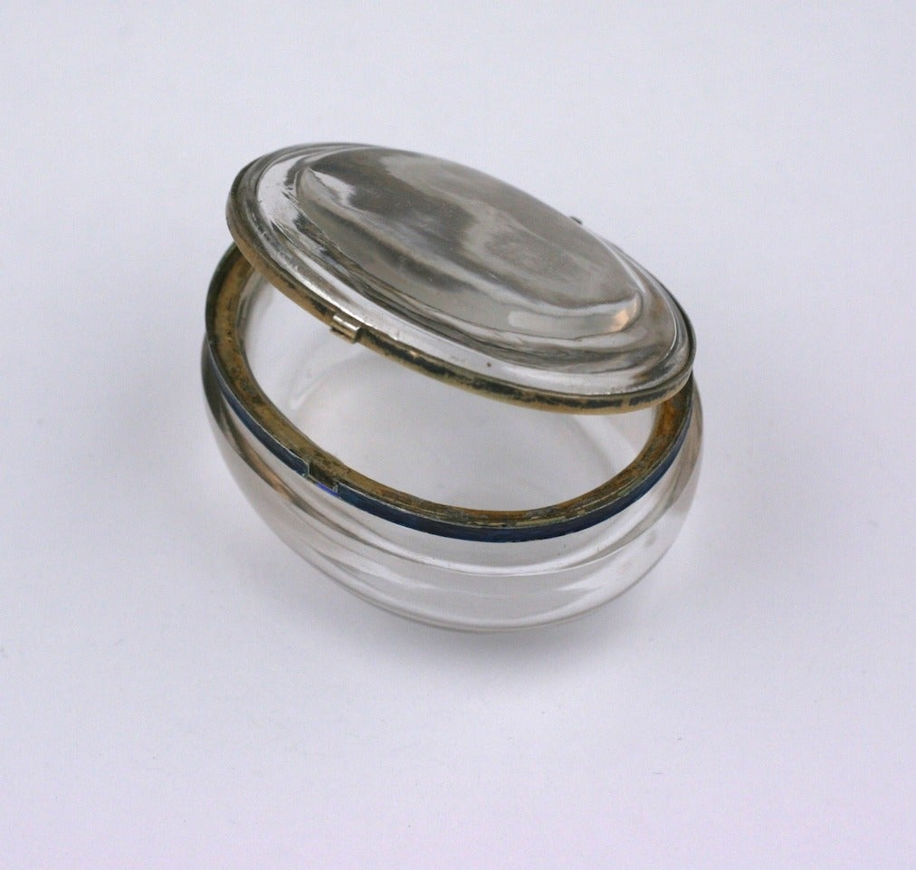 Edwardian Rock Crystal and Enamel Pill Box For Sale 2