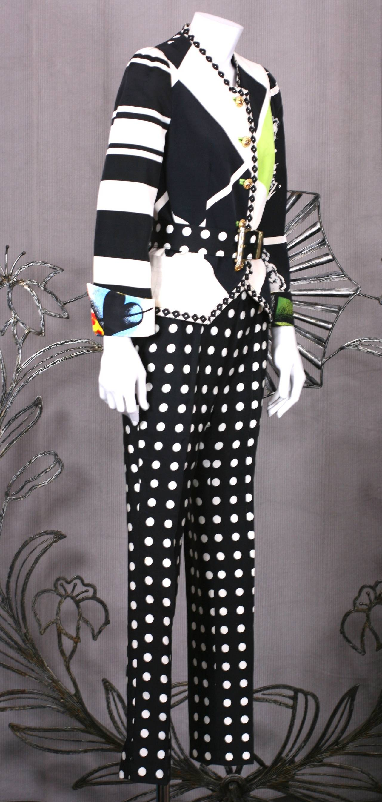 Women's Versace Black and White Graphic Suit For Sale