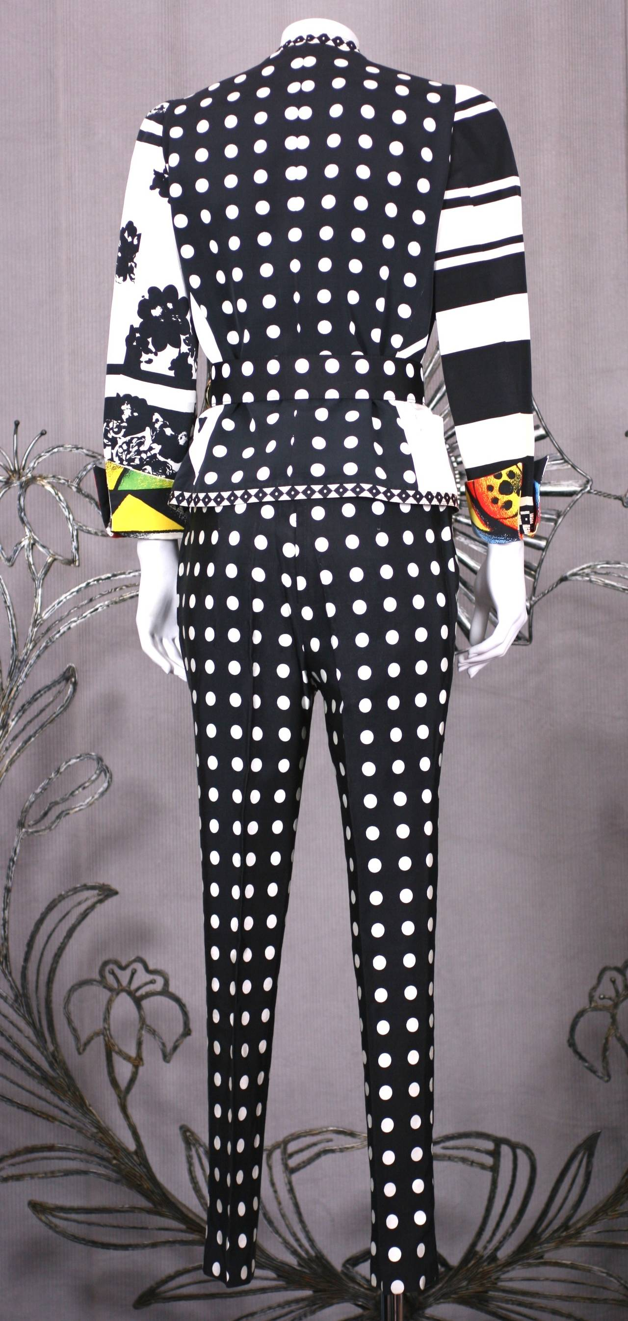 Versace Black and White Graphic Suit For Sale 1