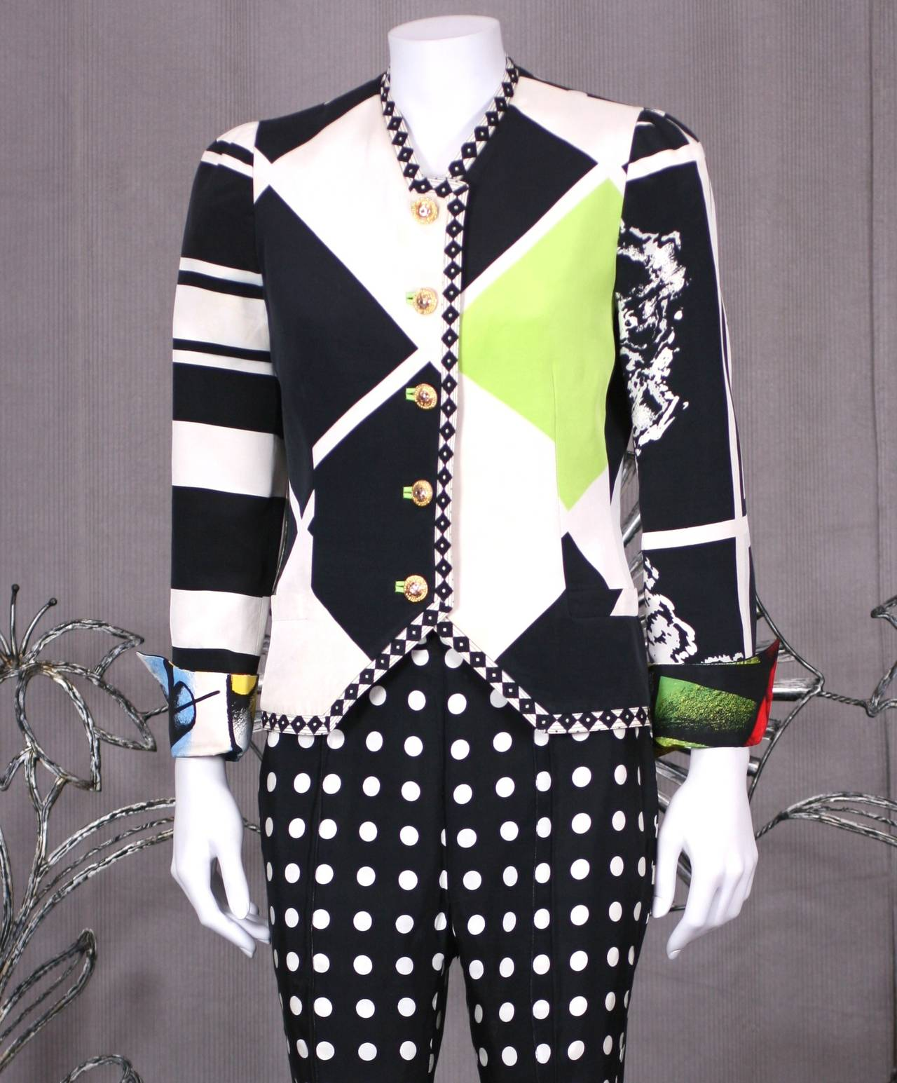 Versace Black and White Graphic Suit For Sale 2