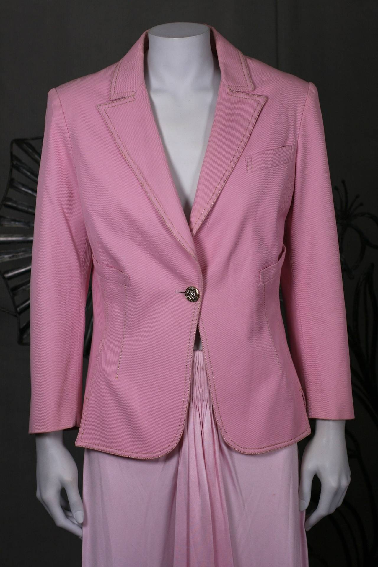 Gianni Versace Pink Denim Suit For Sale At 1stdibs